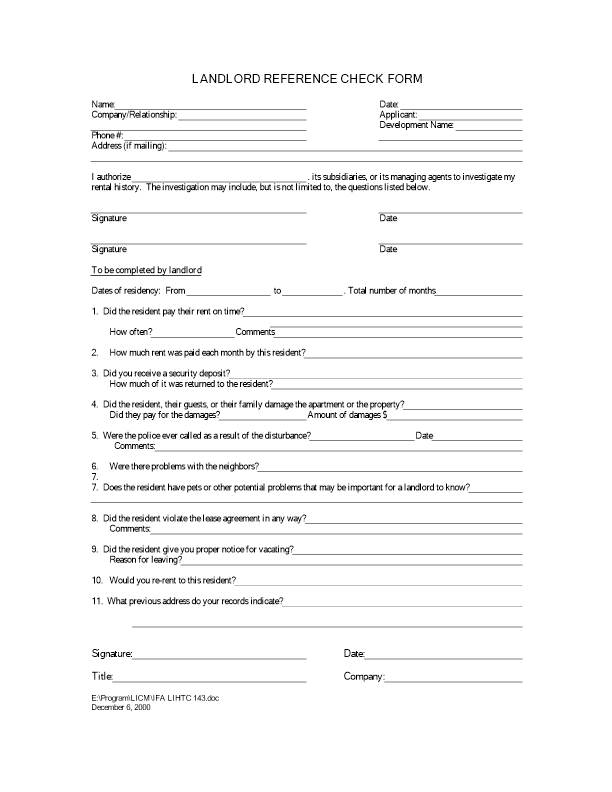 landlord reference form Landlord Reference Form